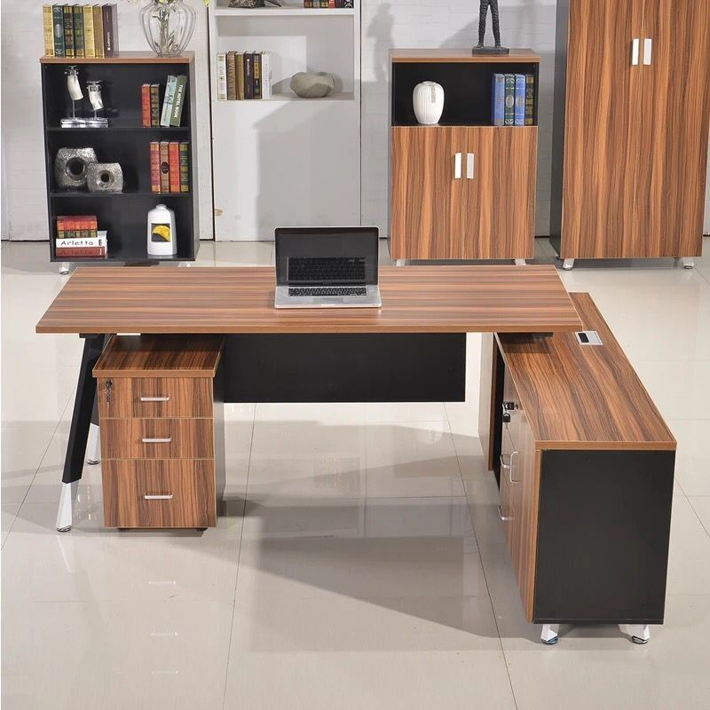OEM Service Decorative Oak Computer Desk / MFC Finishing Cherry Wood Office Table